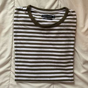 French Connection SS Tee - GreenWhite Stripes - XL